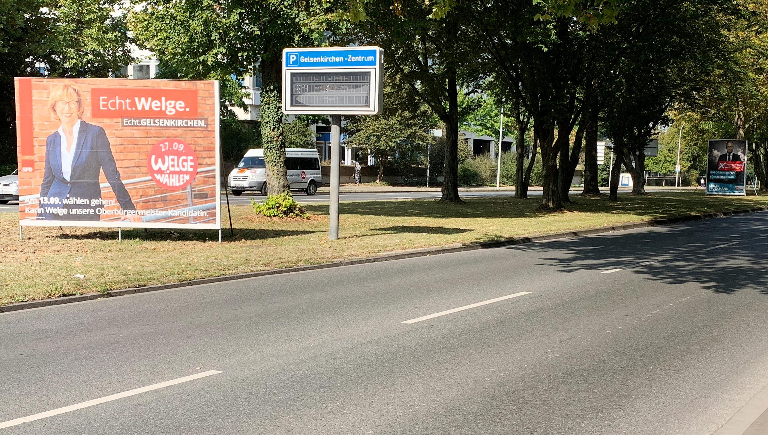 Wahlplakate werben für Karin Welge und Malte Stuckmann