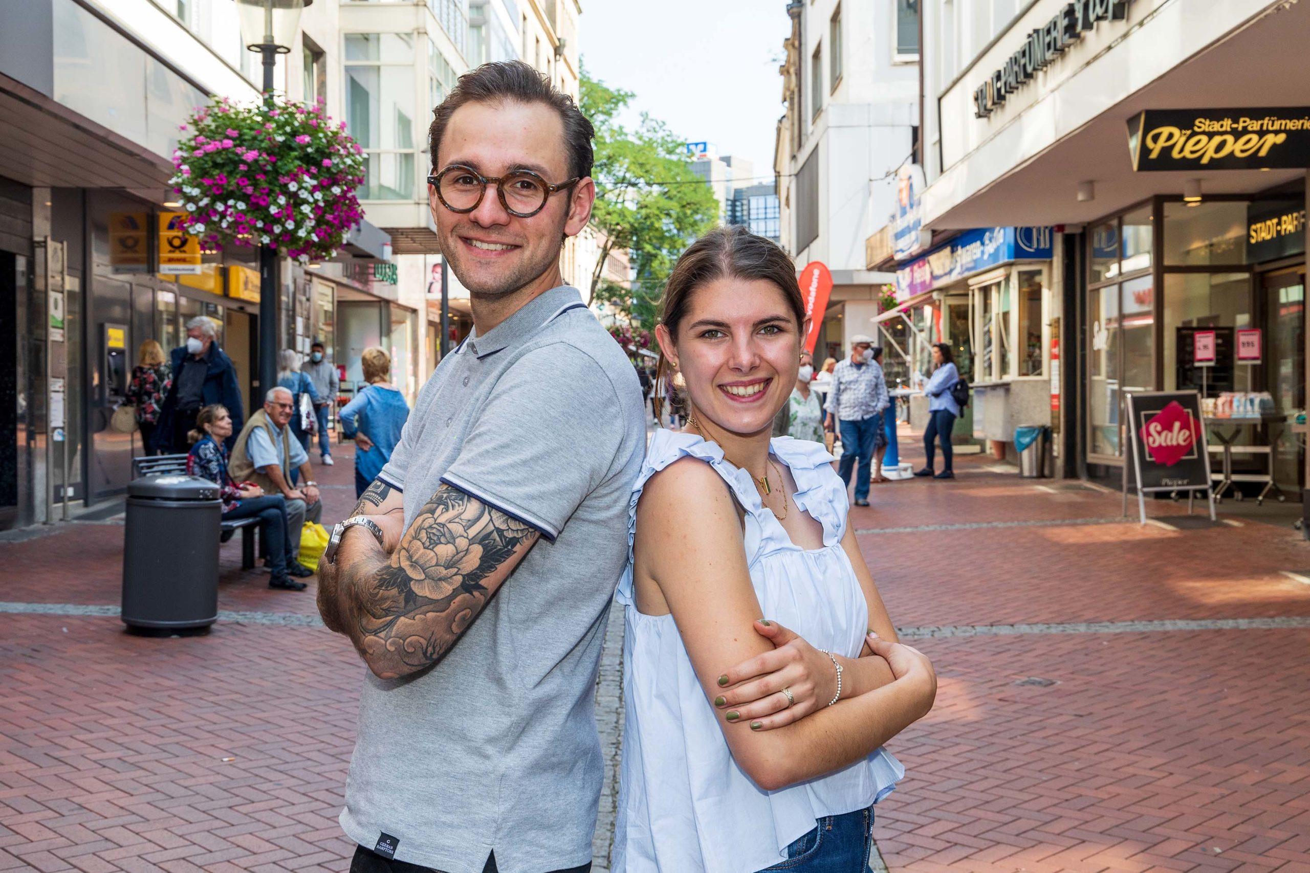 """Mit Sophie Pieper und Josef Bathen jun. hat das Buersche City-Management erstmals eine Doppelspitze. Für beide ist der Leerstand """"ein großes Thema""""."""